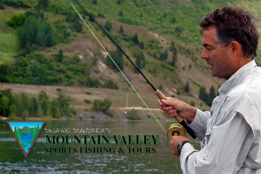 Mountain Valley Sports Fishing and Tours Logo and Dwayne Fishing